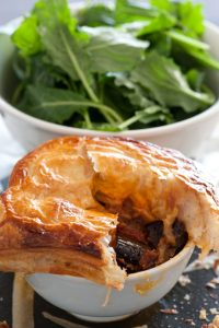 Puff pastry with eggplant