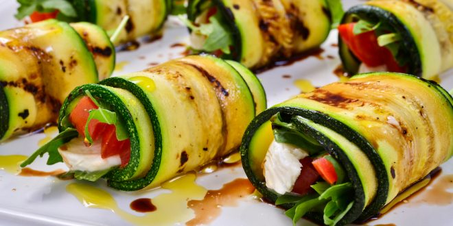 Zucchini rolls with cherries and Traditional Balsamic Vinegar of Modena