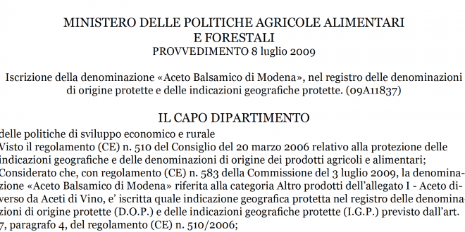 Disciplinary for the production of Balsamic Vinegar IGP