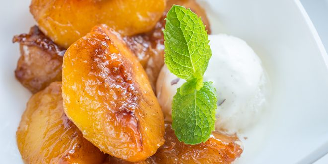 Caramelized peaches and Balsamic Vinegar