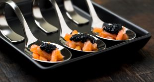 Salmon Tartare with Balsamic Vinegar pearls