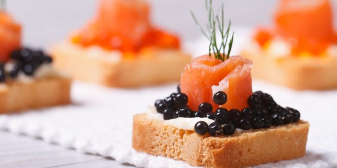 Salmon canapes with Balsamic Vinegar Pearls