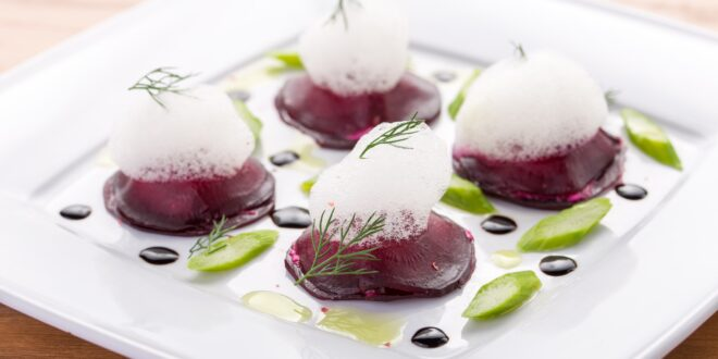 Red turnips with Parmesan musse